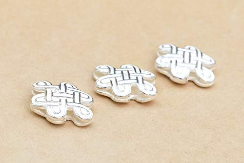 Jewelry Making Supplies - 2 Pcs - 18x14MM Sterling Silver Celtic Knot Spacer Beads for Jewelry Making (64023-2135) - Perfect and Stunning Beads