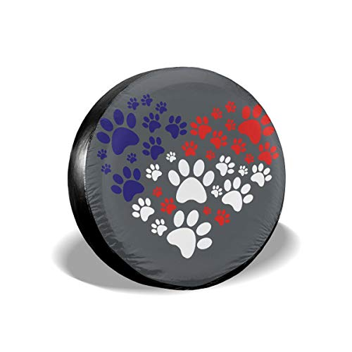 (Tire Cover Cat Dog Paw Prints Heart Spare Wheel Cover Universal Fit for Jeep,Trailer, RV, SUV and Many Vehicle 17 Inch)