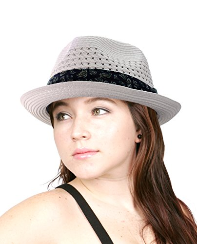 NYFASHION101 Solid Color Straw Woven Paisley Band Vented Unisex Fedora Hat, White, S/M