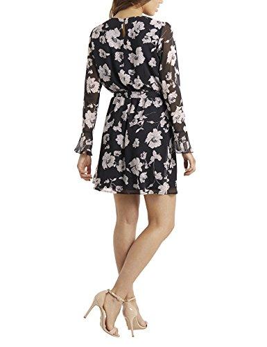 und Schwarz Print mit Damen Rüschen floralem Wickelkleid Lipsy RnOxI0