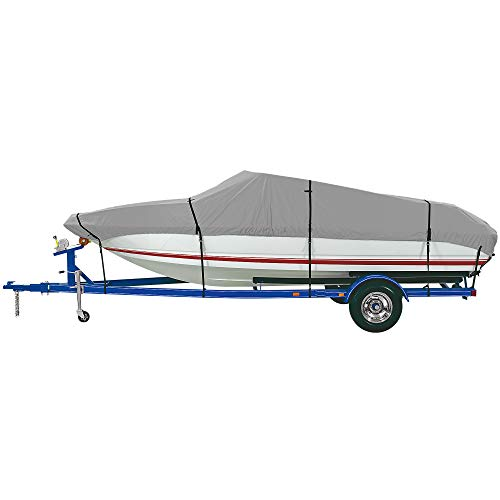 """iCOVER Trailerable Boat Cover- Water Proof Heavy Duty,Fits V-Hull,Fish&Ski,Pro-Style,Utility Boat, Fishing Boat,Runabout,Bass Boat,up to 14ft-15ft Long and 68""""Wide,Grey Color,B6301A"""