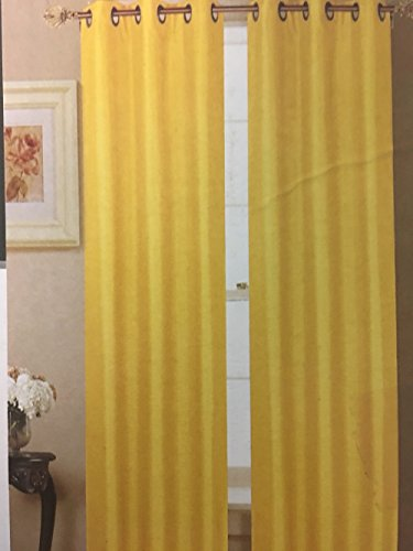 WPM 2 Piece BLACKOUT Faux Silk grommet Window Panels Choose from Grey Yellow Red Turquoise Treatment set 84″ long (Yellow)
