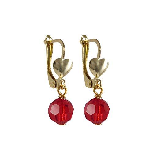 Joyara - Boucles D'oreilles Plaqué Or 585/1000 (14 ct) Oxyde de Zirconium Rouge AB 6mm Preciosa Boule /Pendant avec Coeur Dimension: 21 mmm Longeur x 6mm Largeur x 6mm