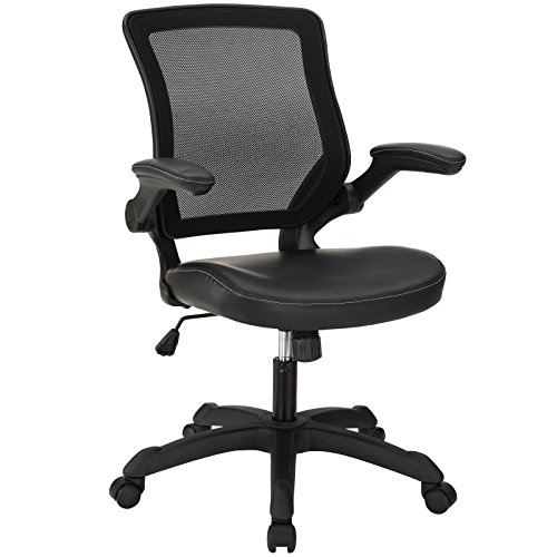 Modway Veer Office Chair with Mesh Back and Black Mesh Seat With Flip-Up Arms  - Ergonomic Desk And Computer Chair