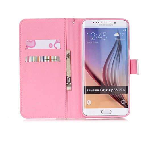 Samsung Galaxy S6 Edge Plus Hülle Leder,Samsung Galaxy S6 Edge Plus Hülle Flip Case,Galaxy S6 Edge Plus Case,Galaxy S6 Edge Plus Cover,EMAXELERS Samsung Galaxy S6 Edge Plus PU Leder Wallet Brieftasche Sexy Red Lip