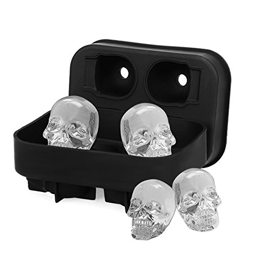 HoneyHolly 3D Skull Ice Tray, Flexible Food Grade Silicone Novelty Molds, Make Chocolate Candy Ice Mold, Perfect For Kids Halloween Gifts, BPA Free - 4 Skull -