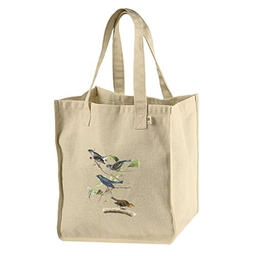 Market Tote Hemp Canvas Indigo Bunting James Audubon Birds By Style In ()