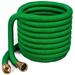 2017 50ft Expanding Garden Hose - Best Flexible Hose- Strongest Brass Connections - 7 Pattern Spray Nozzle - No Kinking Flexible Triple Layer Latex (50ft)