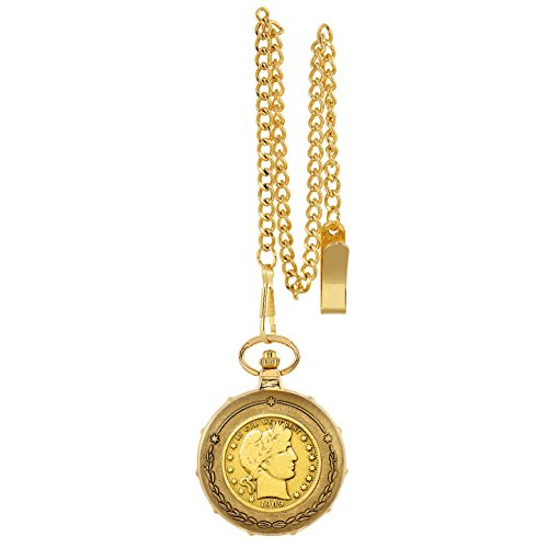 Gold-Layered Silver Barber Half Dollar Goldtone Train Pocket Watch with Skeleton Movement