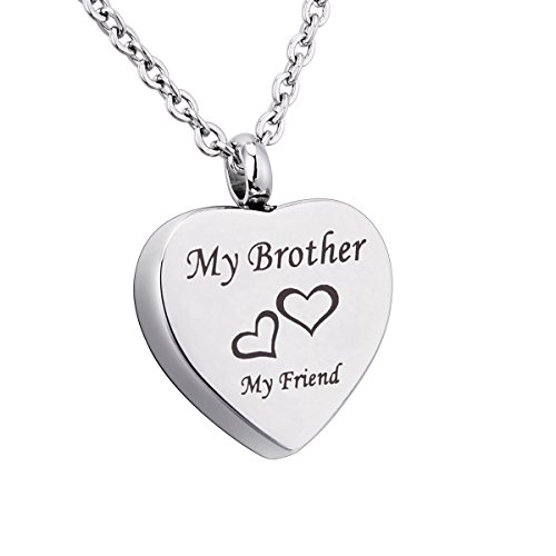 """Price comparison product image Engraved """"My Brother+My Friend"""" Heart Memorial Urn Pendant Necklace Stainless Steel Ashes Keepsake Cremation Jewelry"""