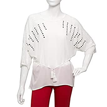 Parkhande White Polyester Round Neck Blouse For Women