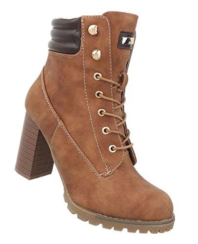Schuhcity24 Damen Schuhe Stiefeletten Used Optik Schnür Boots Camel