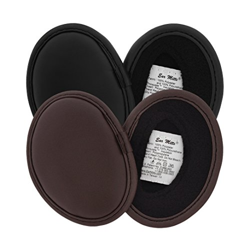 2 Pack Ear Mitts Faux Leather Bandless Winter Ear Muffs, Black & Brown, Regular by Ear Mitts