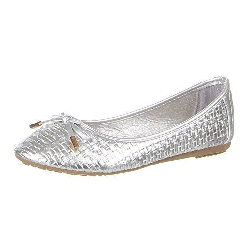 Ital-Design Damen Schuhe, 564-1, Ballerinas Silber