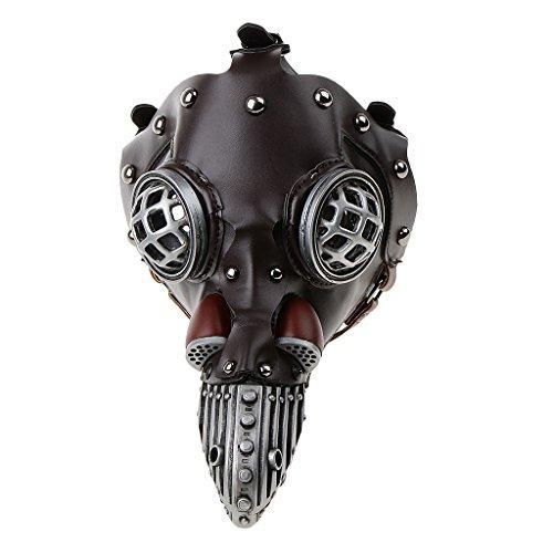 Prettyia Deep Brown Plaque Doctor Leather Mask Birds Beak Gas Mask Design Gothic Steampunk Costume Accessories -