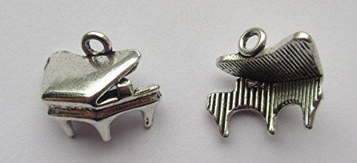 10 x Grand Piano 3D Tibetan Silver Charms Pendants Beads