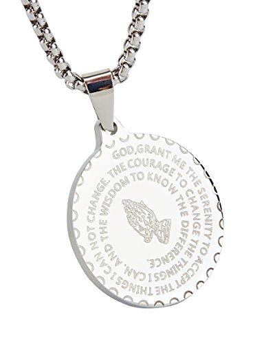 - Starmond Bible Verse Prayer Necklace Christian Jewelry Stainless Steel Praying Hands Coin Pendant,Pendant Necklace Stainless Steel 24