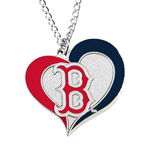 aminco MLB Boston Red Sox Swirl Heart Necklace