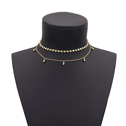 Geerier Charming Gold Disc Choker Necklace Bead Dangle
