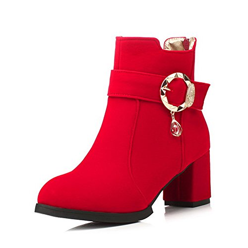Allhqfashion Women's Solid Kitten Heels Round Closed Toe Imitated Suede Zipper Boots Red
