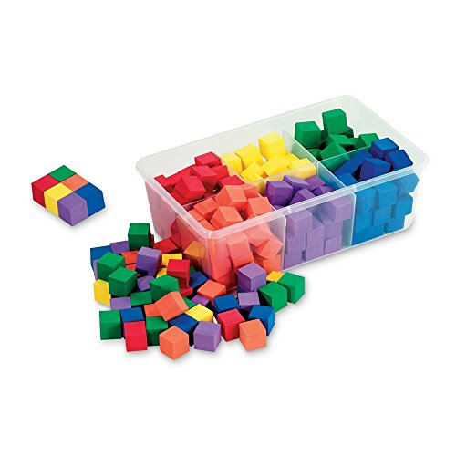 Math Tub - ETA hand2mind 1-inch Wooden Color Cubes with Storage Tub (Set of 100)