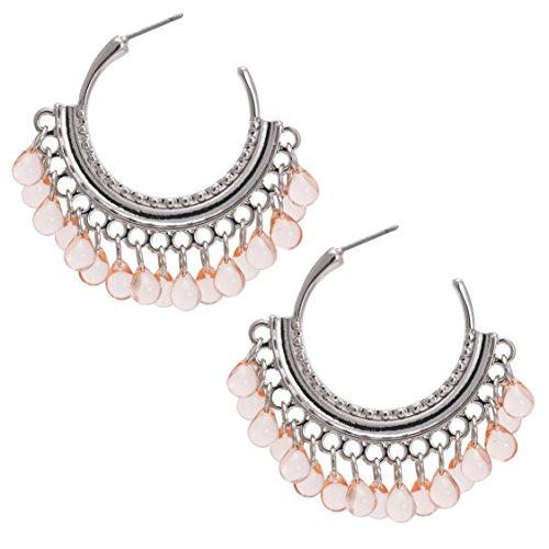 andmade Beads Dangled Tassel Hoop Statement Earrings for Women (Brass And Bead Earrings)