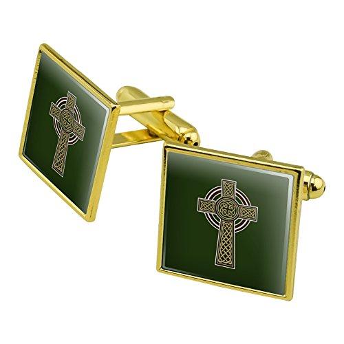 Celtic Christian Cross Irish Ireland Square Cufflink Set Gold Color