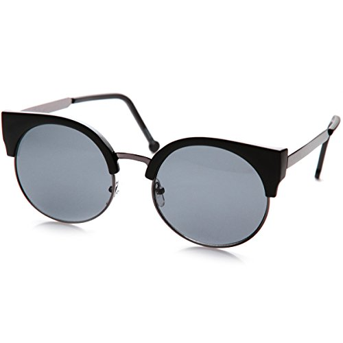 zeroUV - Classic Round Half Frame Metal Temple Circle Cat Eye Sunglasses (Matte-Black - Cat Circle Sunglasses Eye