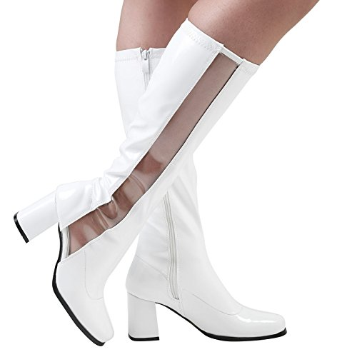 ByPublicDemand Ginger Womens Mid Block Heel Clear Panel Boots White Patent z0SlMHxB