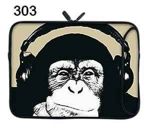 TaylorHe Funda de neopreno para portátil (15,6/39 cm) Laptop Sleeve con bolsillos laterales para accesorios Samsung/Acer/Toshiba/Macbook, diseño de remolinos de chimpancé, divertido
