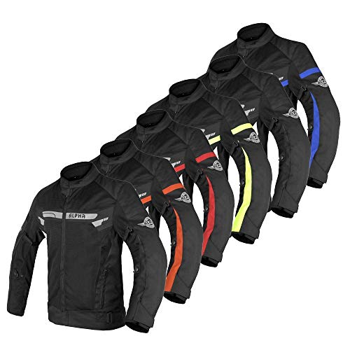 ALPHA CYCLE GEAR BREATHABLE BIKERS RIDING PROTECTION MOTORCYCLE JACKET MESH CE ARMORED (BLACK WIND, LARGE)