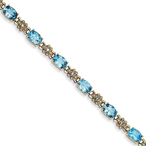 Bracelet diamant en or 14carats avec Topaze Bleu Brut