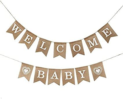 Amazon Com Vanvene Welcome Baby Burlap Banner Vintage Party Decorations Baby Shower Decorations Toys Games