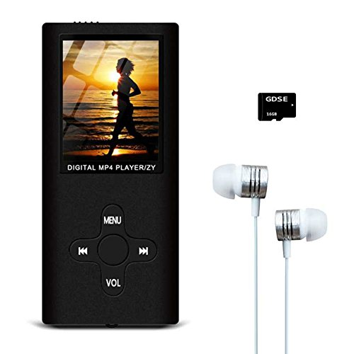 MP3/MP4 Music Player,Hey-Elecs Compact and Portable MP3 Music Player with FM Radio/Video Player/Voice Recorder/E-Book Reader,Including a 16GB Micro SD Card,Ultra Slim 1.8in LCD Screen - (Black)