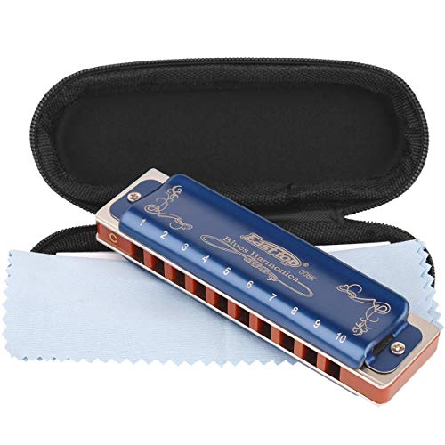 Professional Harmonica Blues Key of C 10 Hole 20 Tone Heavy Duty with Case & Cleaning Cloth for Professional Player, Beginner, Students, Children, Kids,by Eison-East Top,Blue,Best Christmas Gift