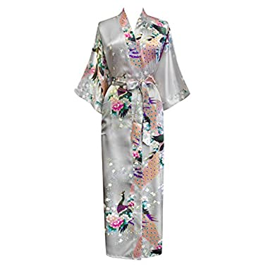 Old Shanghai Women's Kimono Long Robe - Peacock & Blossoms - Lilac Gray