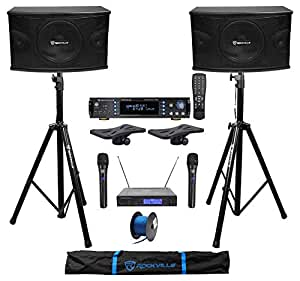 "Pair Rockville KPS10 10"" 1200w Karaoke Speakers+Amp+Tripod Stands+Wireless Mics"