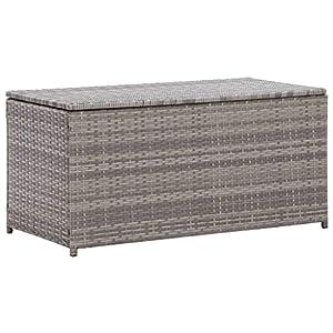 vidaXL Garden Rattan Pillow Storage Chest Grey