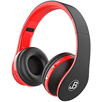 JB Wireless Over Ear Headphones, Wireless Technology, Foldable Soft Memory Earmuffs With Built in Mic, Automatic Connection To Cell Phone, TV PC, Red