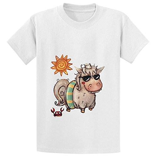 Price comparison product image Snowl Summer Time Unicorn Teen Crew Neck Short Sleeve Tees White