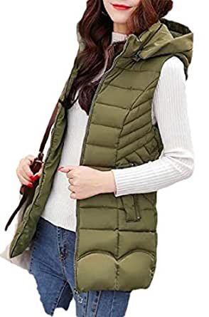 Macondoo Women's Casual Coat Sleeveless Quilted Outwear Hooded Warm Vest Army Green XXS