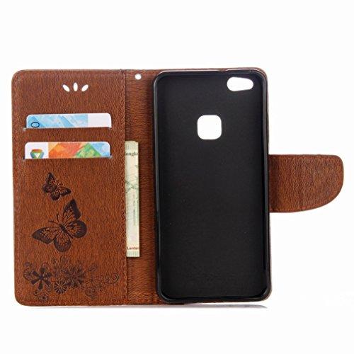 Yiizy Huawei P10 Lite Custodia Cover, Farfalla Design Sottile Flip Portafoglio PU Pelle Cuoio Copertura Shell Case Slot Schede Cavalletto Stile Libro Bumper Protettivo Borsa (Marrone)
