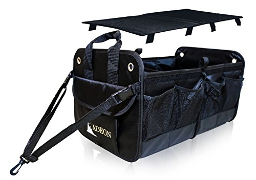 Adeon Folding Auto Trunk Organizer   Premium Cargo Storage Best For Car Suv Truck Van    Foldable Lid   Multiple Pockets  Heavy Duty Build   Secures Firmly In Position
