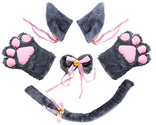 Beelittle Cat Cosplay Costume Kitten Ears Tail Collar Paws 5 Pack (Gray1) -