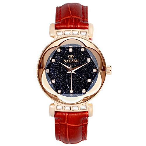 Women's Watch,Gold Women Quartz Wrist Watch with Crystal Dial and Dimond Watch Waterproof Casual Simple Dress Watches for Girls (RED) (Wrist Crystal Watch Casual)