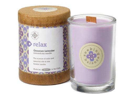 Root Candles Seeking Balance 6.5oz Geranium Lavender Relax Candle, Wax, Light Purple
