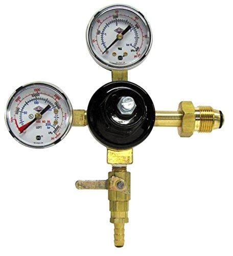 Taprite Primary Keg Brass Beer Regulator With Commercial Pressure Gauge (Dual Gauge 742HPN) 3000 Psi Nitrogen System