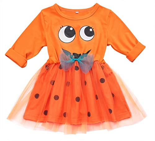 JELLYKIDS Toddler Girl Pumkin Dress Baby Little Girl Long Sleeve Funny Ghost Pumpkin Lace Halloween Thanksful Tutu Dress Size 1-2 Years/Tag90 (Orange)]()
