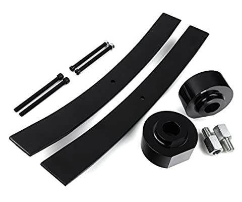 1999 - 2007 F350 Lift Kit Super Duty 4WD 1.5 Inch Front 2 Inch Rear BIG BRAWNS Aircraft Billet Spring Spacers (Black) Carbon Steel Add A Leafs