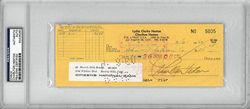 Charlton Heston Signed Authentic Autographed Check Slabbed PSA/DNA #83436260